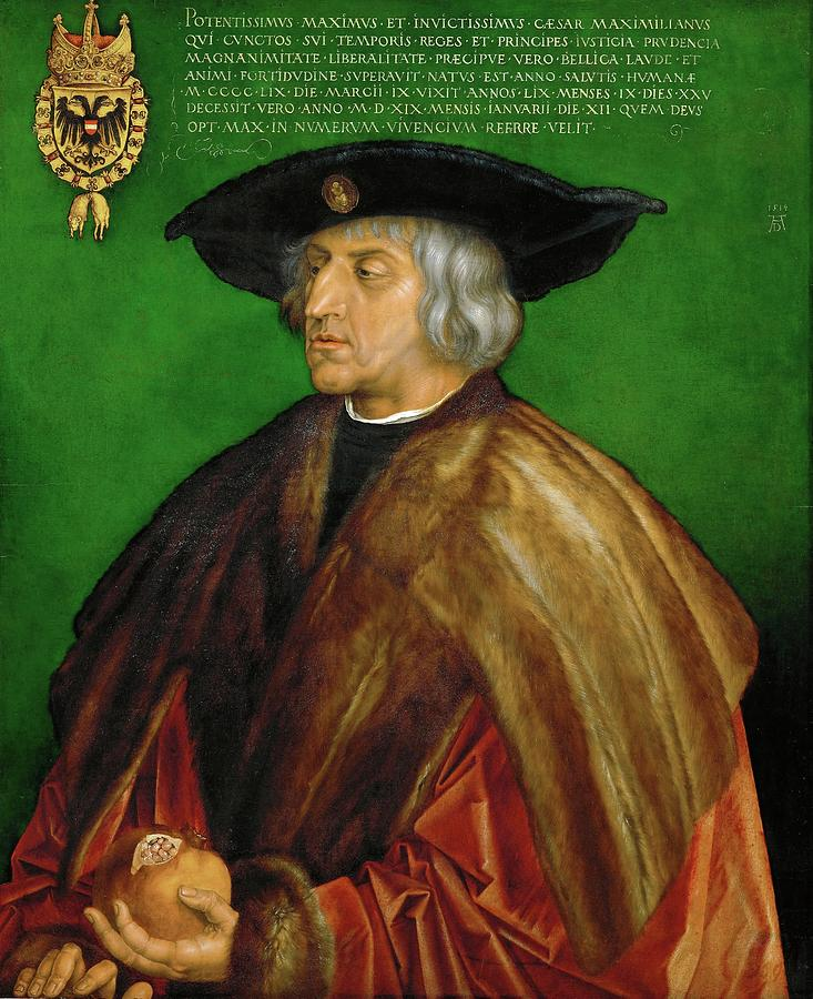 Albrecht Durer Painting - Emperor Maximilian I -1466-1536-. Oil On Limewood -1519- 74 X 61.5 Cm Inv. 825. Albrecht Durer . by Albrecht Durer -1471-1528-