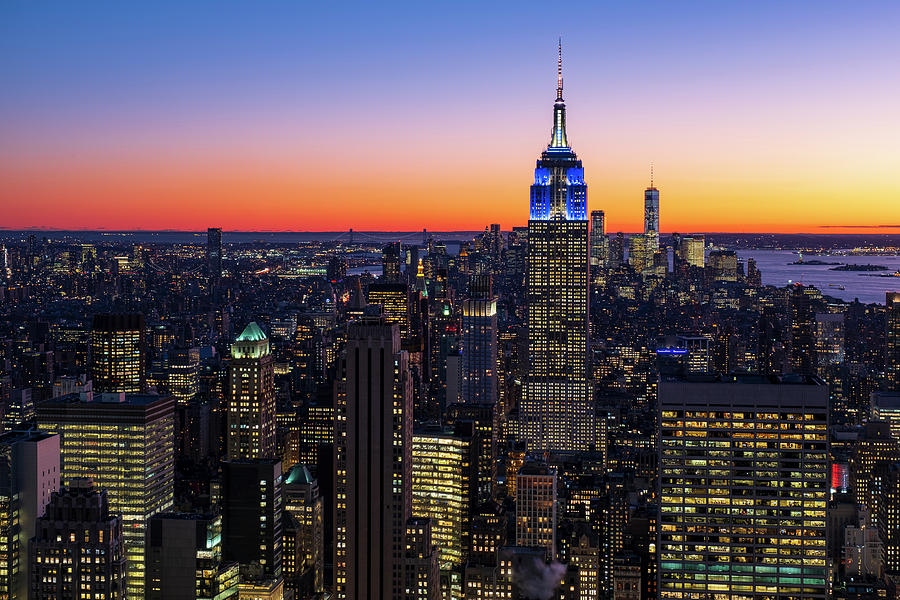 Empire State Building and Lower Manhattan at Sunset by Clint Buhler