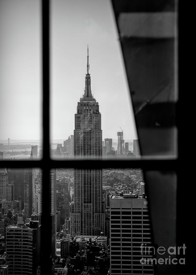 Empire State Building BW Window Pane NYC  by Chuck Kuhn