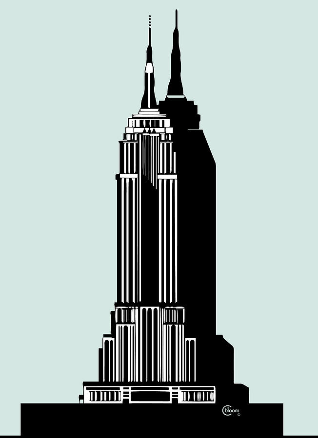 Empire State Building Deco Blue by Cecely Bloom