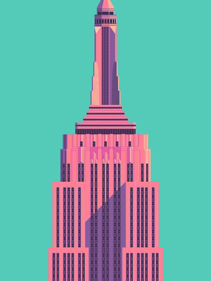 Empire Digital Art - Empire State Building - Green by Organic Synthesis