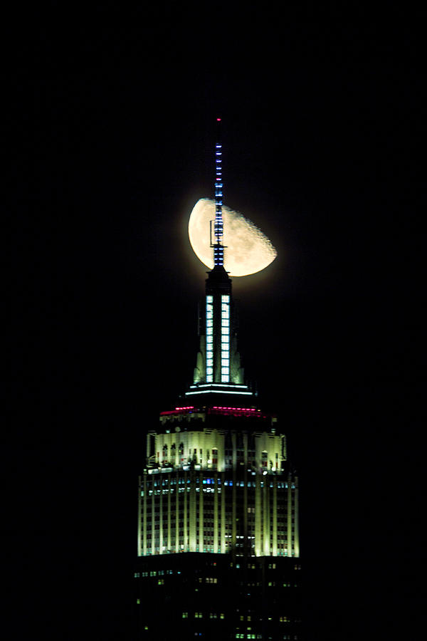 Empire State with Moon by Fran Gallogly