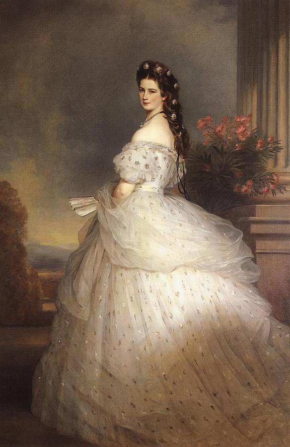 Empress Elisabeth of Austria with diamond stars on her hair by Franz Xaver Winterhalter