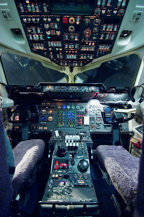 Empty Aeroplane Cockpit Photograph by Moodboard