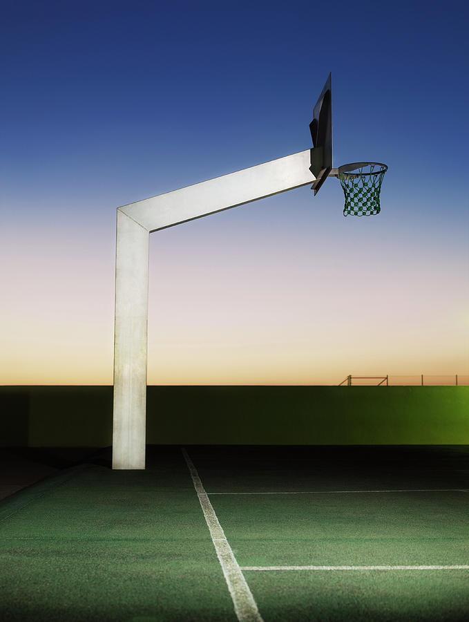 Empty Basketball Court, Outdoors, Dusk Photograph by Henrik Sorensen