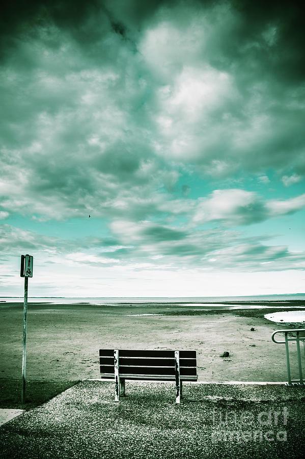 Beach Photograph - Empty Beach Bench by Jorgo Photography - Wall Art Gallery