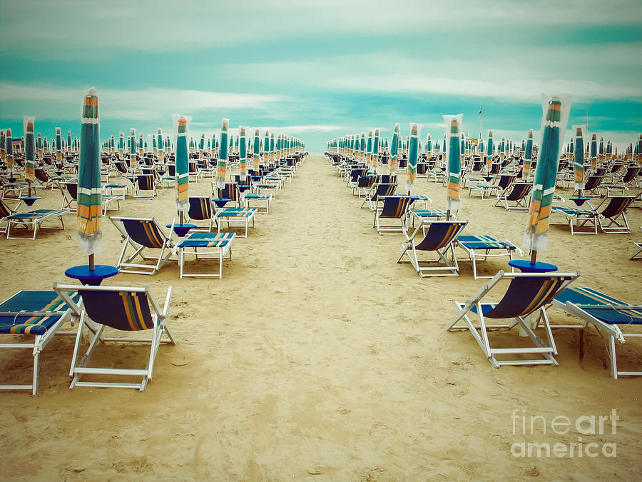 Bad Photograph - Empty Beach Scenery With Deckchairs And by Anastazzo
