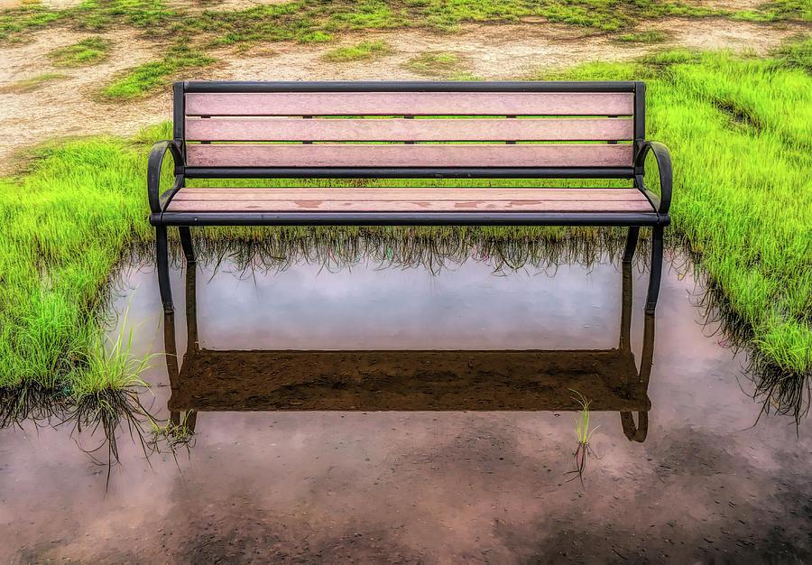Empty Bench In Flood Zone by Gary Slawsky