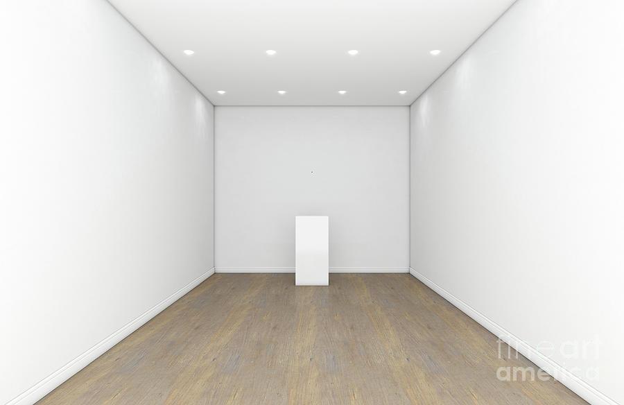 Plinth Digital Art - Empty Gallery Room And Plinth by Allan Swart