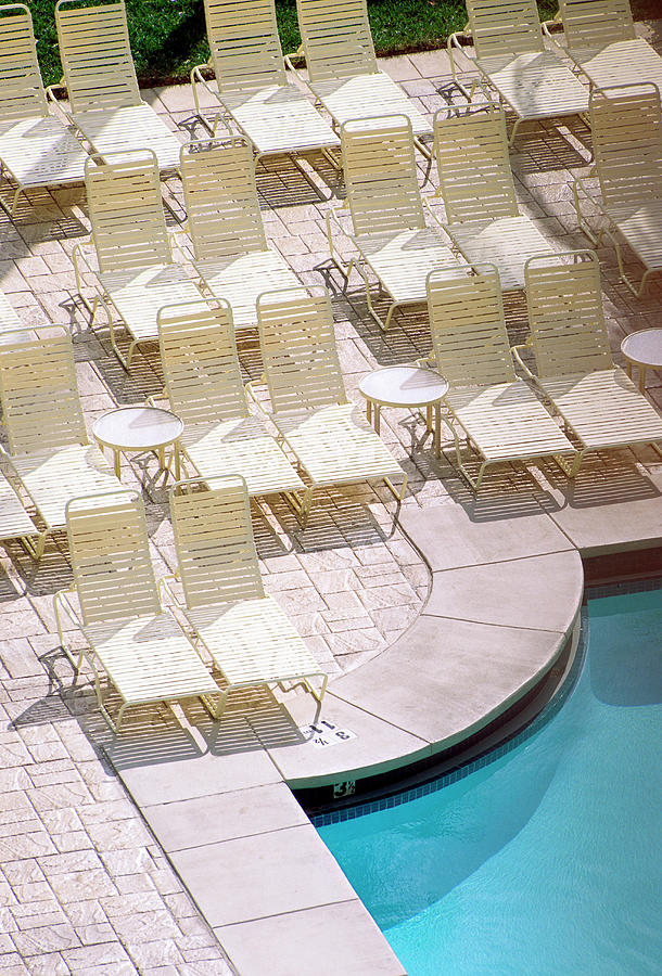 Spa Photograph - Empty Poolside Chairs At A Holiday by Wesley Hitt