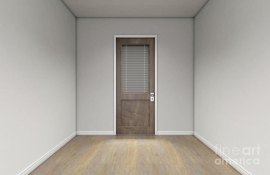 Door Digital Art - Empty Room And Office Door by Allan Swart