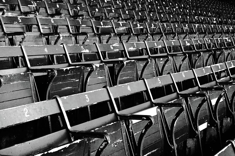 Empty Stadium Seating Bw Photograph by Nic taylor