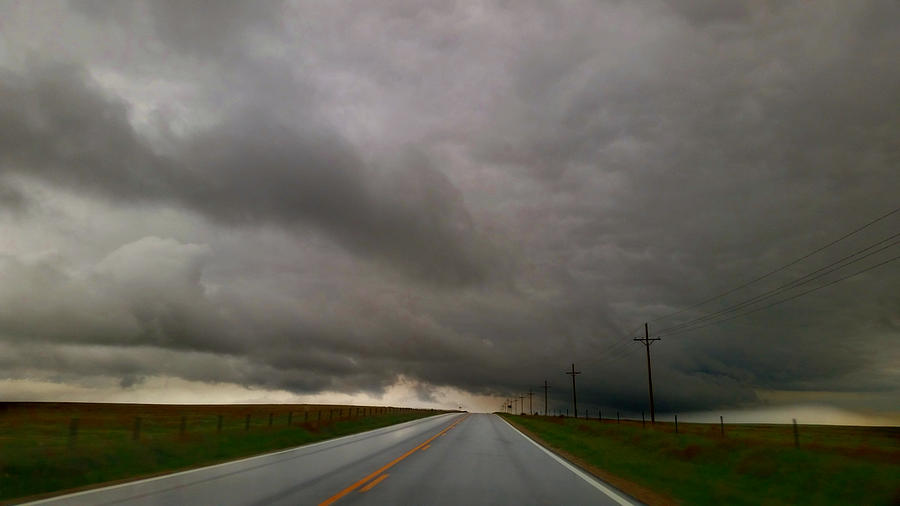 Empty Stormy Kansas Highway Photograph