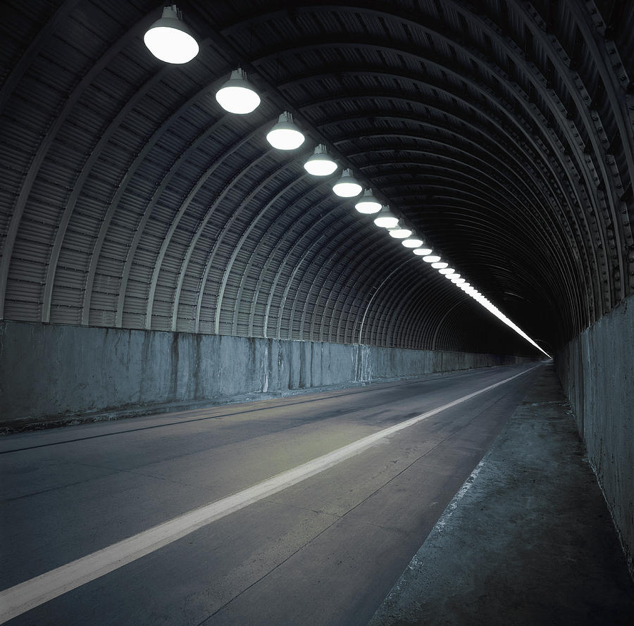 Empty Tunnel With Lights Digital Photograph by Ed Freeman
