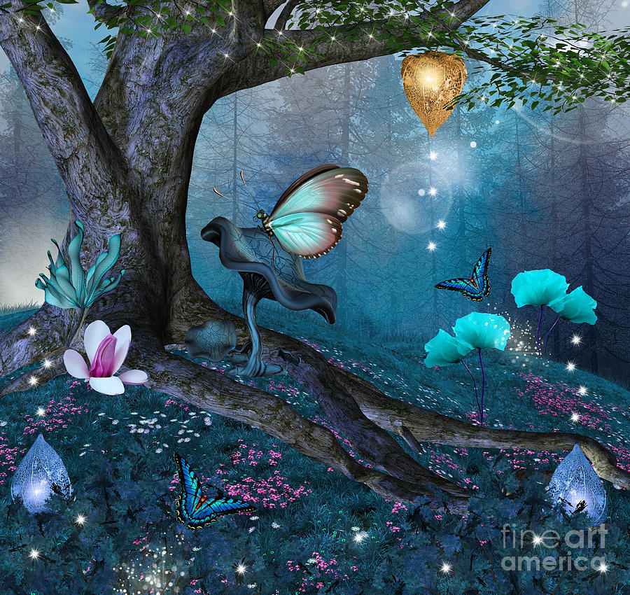 Magic Digital Art - Enchanted Tree In The Middle Of The by Ellerslie