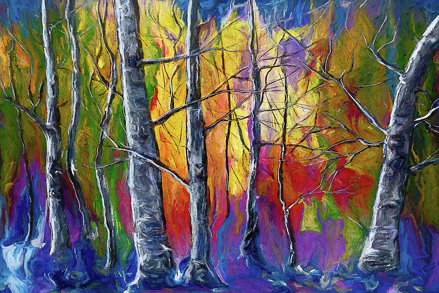 Enchanted Universe Sunset Forest Painting  by OLena Art - Lena Owens