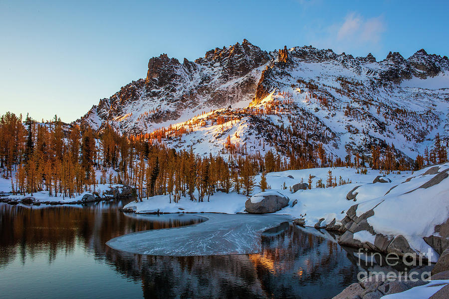 Enchantments Lakes Basin Fall Colors and Snow by Mike Reid