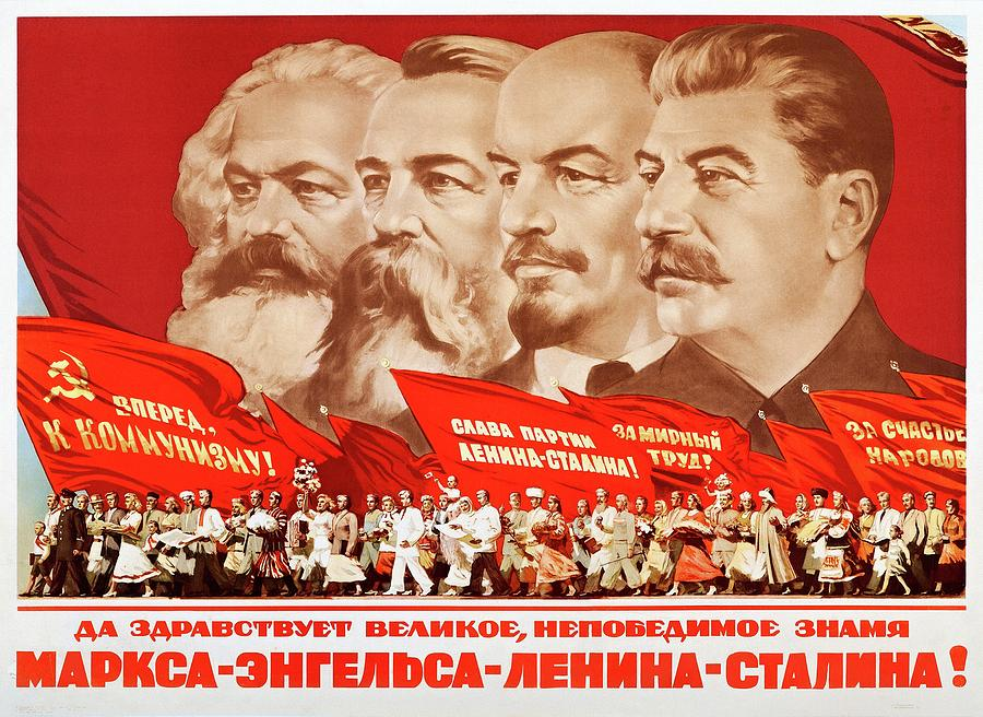 Marx, Engels, Lenin and Stalin, 1953 Propaganda poster by A Kossov