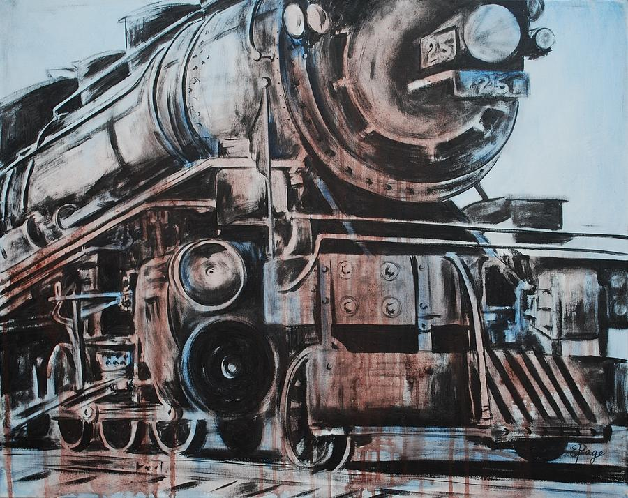 Steam Engine Painting - Engine #25 by Emily Page