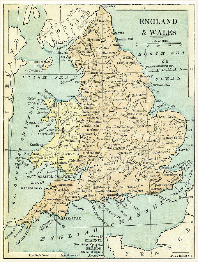 England And Wales Map 1875 Digital Art by Thepalmer