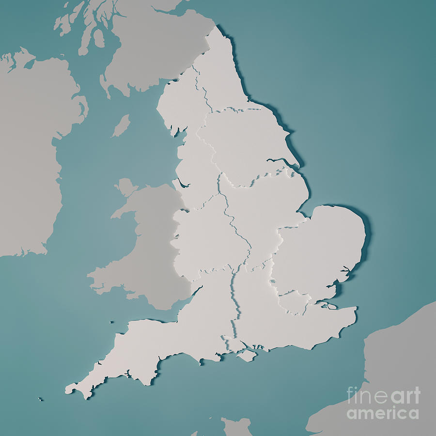 Country Map Of England.England Country Map Regions Administrative Divisions 3d Render