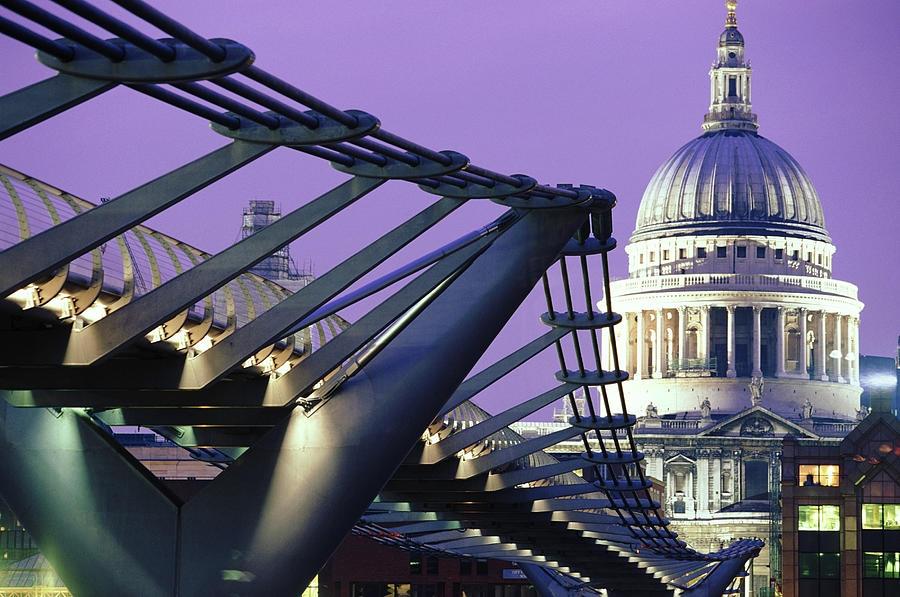 England, London, Millennium Bridge And Photograph by Peter Adams