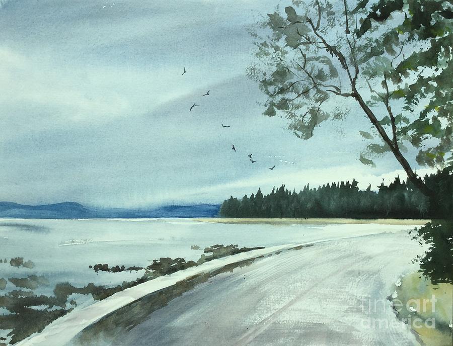 English Bay Painting - English Bay Seawall by Watercolor Meditations