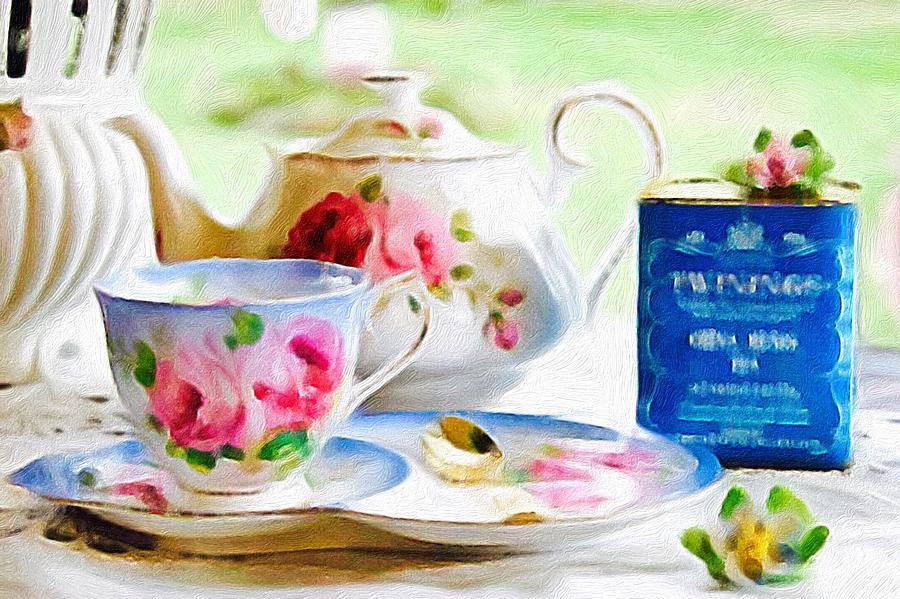 Brushstroke Photograph - English Tea Time Blue by Jacqueline Manos