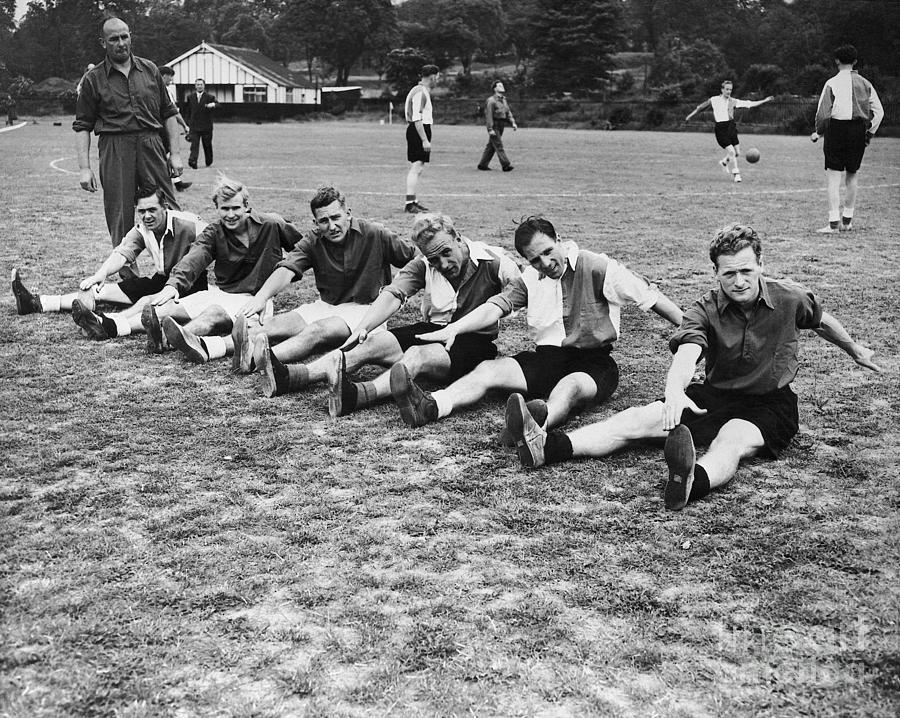 English World Cup Team Stretching Photograph by Bettmann