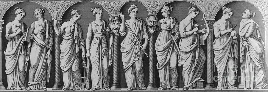 Engraving Entitled The Nine Muses Photograph by Bettmann