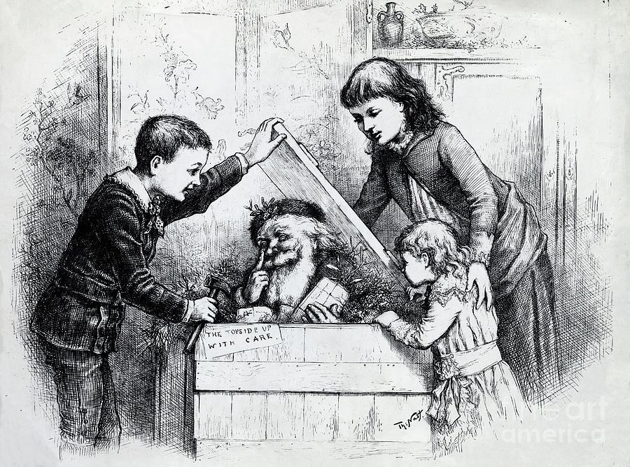 Engraving Of Santa Clause Inside Box Photograph by Bettmann