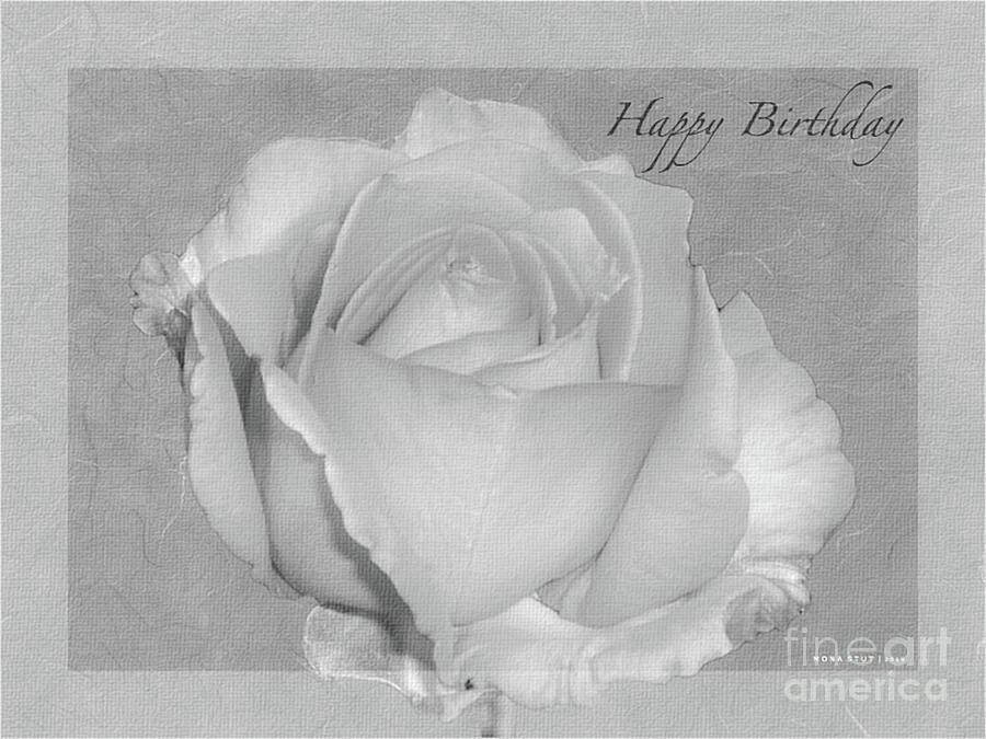 Enjoy Happy Birthday Roses Bw Photograph