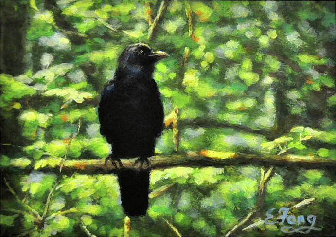 Crow Painting - Enjoying Forest Light by Eileen  Fong