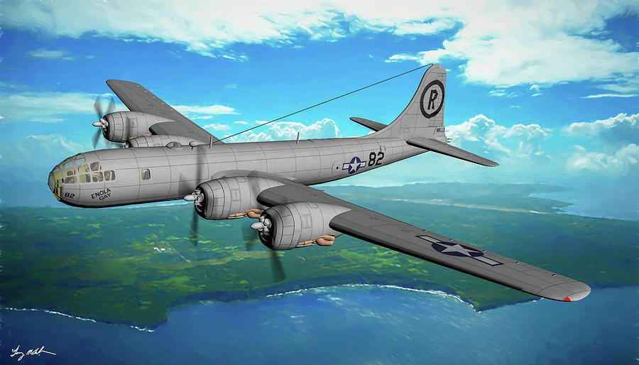 Enola Gay over Tinian Island Oil by Tommy Anderson