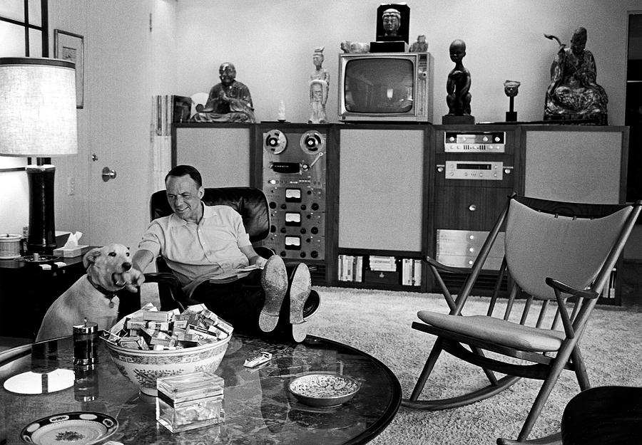 Pets Photograph - Entertainer Frank Sinatra Relaxing W by John Dominis