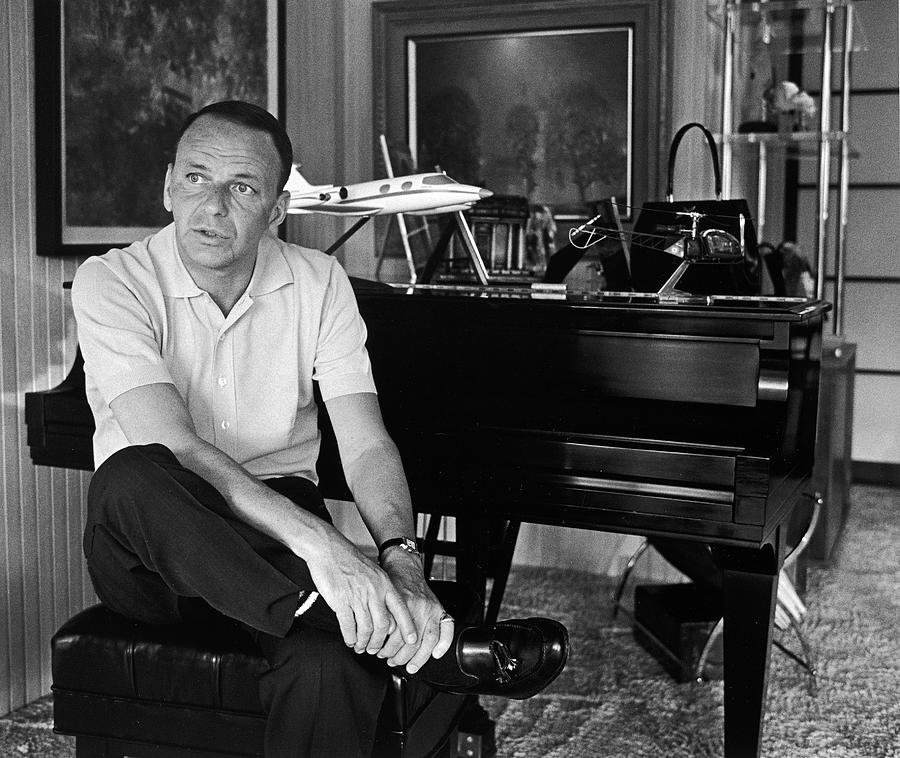 Entertainer Frank Sinatra Sitting At Photograph by John Dominis