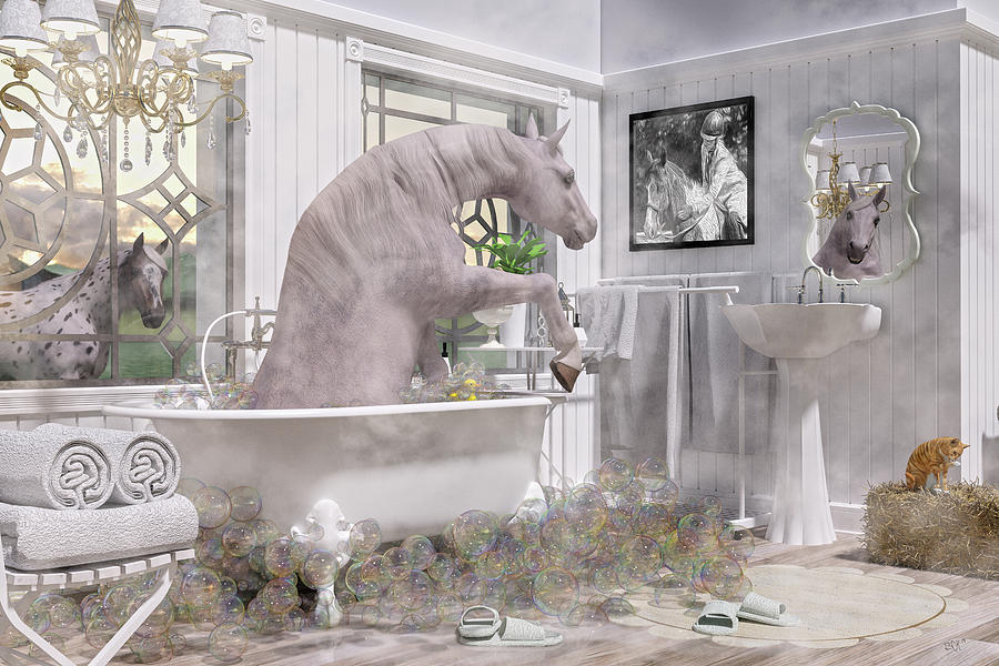 Horse Digital Art - Equine Bubble Bath Beauty Time  by Betsy Knapp