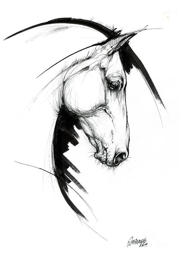 Equine sketch 2019 04 28a by Angel Ciesniarska