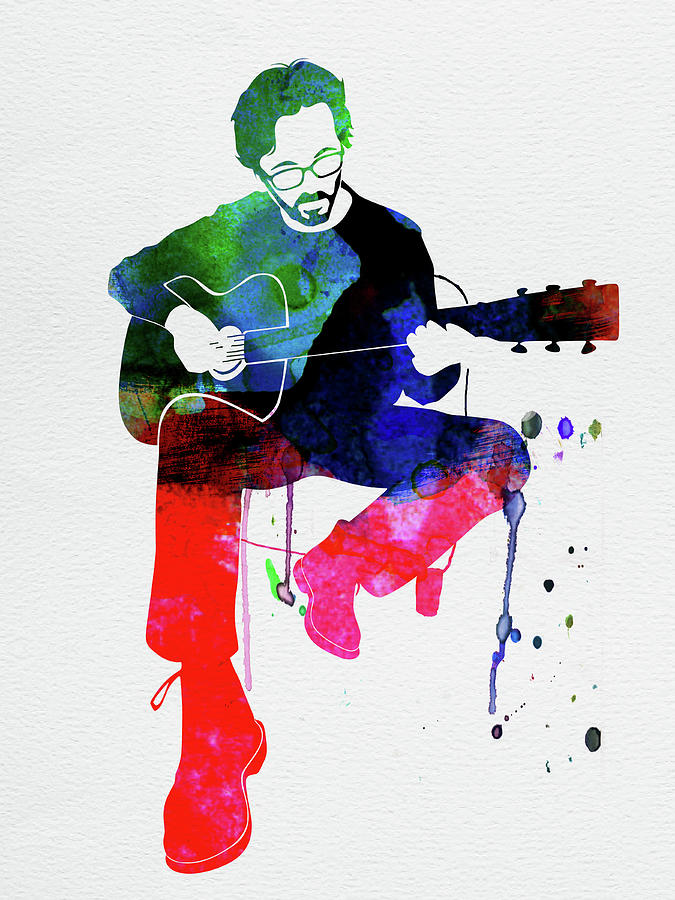 Eric Clapton Mixed Media - Eric Clapton Watercolor by Naxart Studio