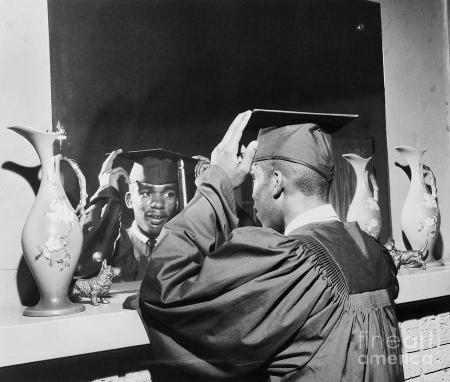 Ernest Green Wearing Cap And Gown Photograph by Bettmann