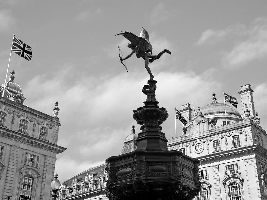 Eros Piccadilly Circus In Black And White by Gill Billington
