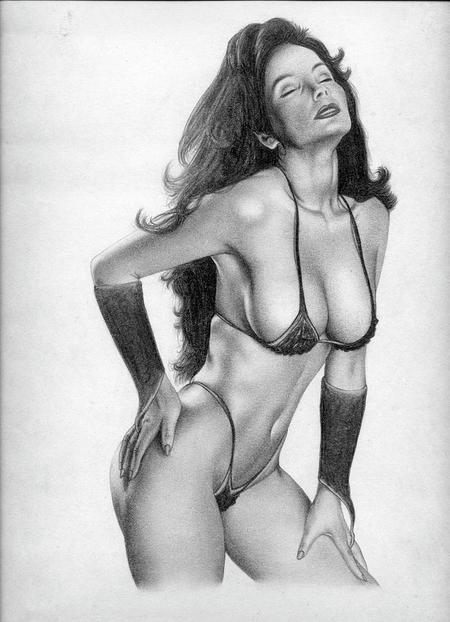 Drawing erotic pencil woman