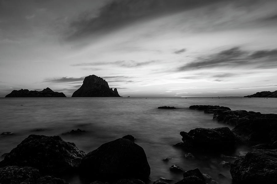 Es Vedra at sunset in long exposure, Ibiza, Spain by Vicen Photography