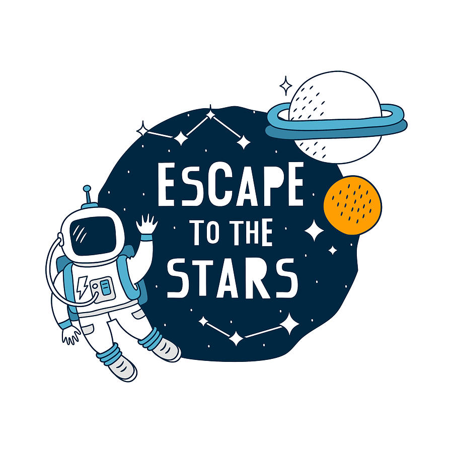 Escape To The Stars - Baby Room Nursery Art Poster Print by Dadada Shop