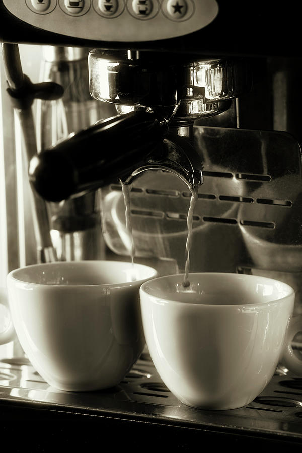 Espresso Coffee Filtering Into Two Cups Photograph by Andrew Bret Wallis