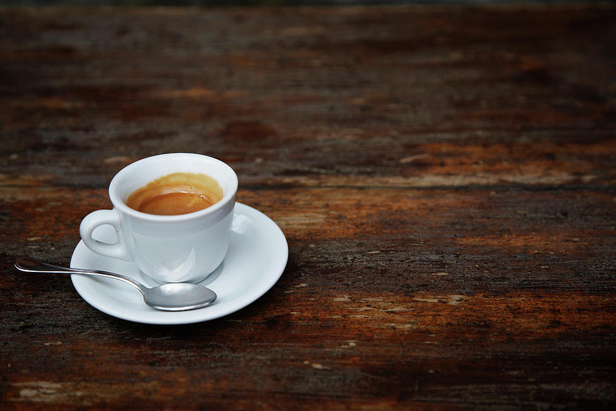 Espresso Coffee On A Rustic Cafe Table Photograph by Andrew Bret Wallis