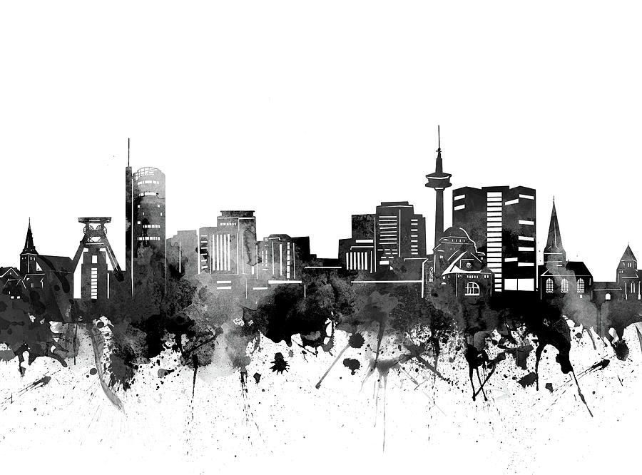 Essen Digital Art - Essen Skyline Bw by Bekim M