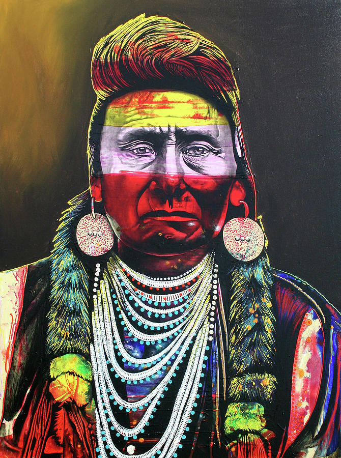 Indian Chief Painting - Eternal Sorrow by Graeme Stevenson