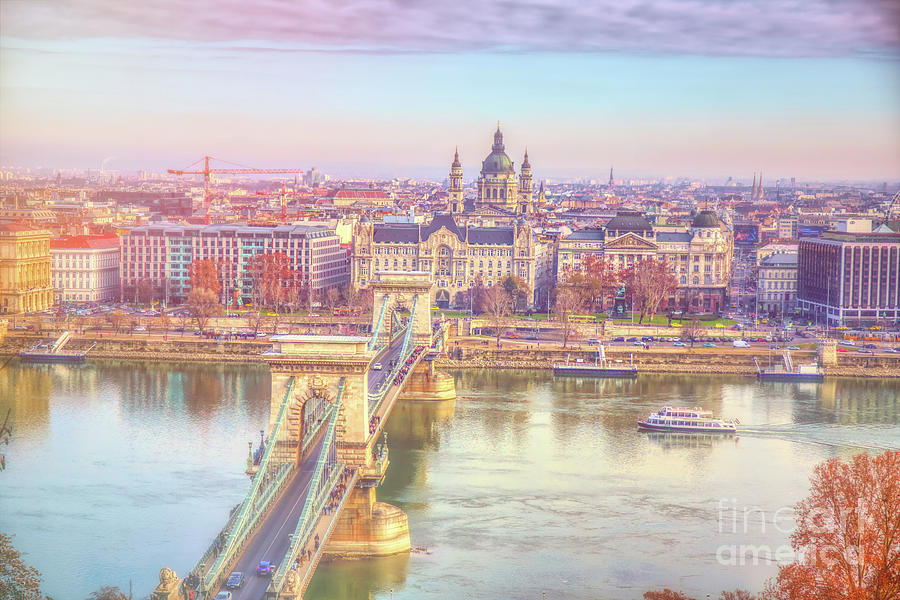 Budapest Photograph - Ethereal Panorama Of Budapest Chain Bridge by Stefano Senise