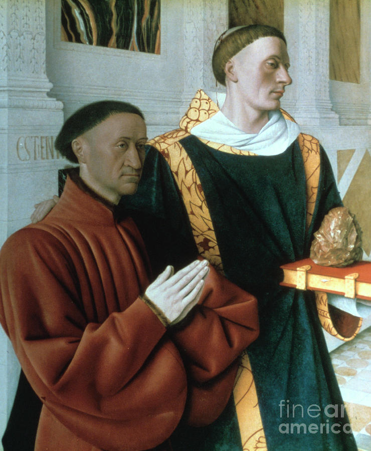Etienne Chevalier And St Stephen Drawing by Print Collector